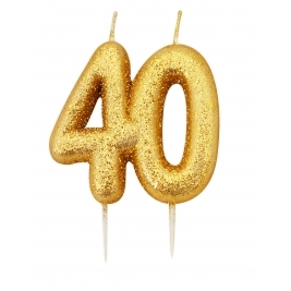 Number 40 Gold Glitter Numeral Moulded Pick Candle