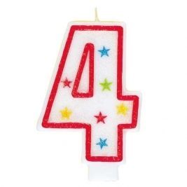 Number 4 Glitter Candle With Happy Birthday Cake Topper