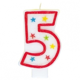 Number 5 Glitter Candle With Happy Birthday Cake Topper