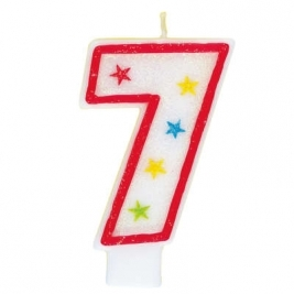 Number 7 Glitter Candle With Happy Birthday Cake Topper