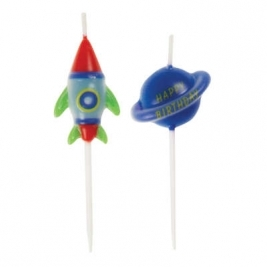 Outer Space Pick Birthday Candles - Pack of 6