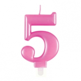 Pink Metallic Number 5 Candle