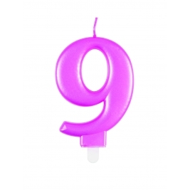 Pink Metallic Number 9 Candle