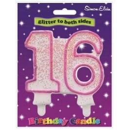 Pink Number 13 Glittered Birthday Candle