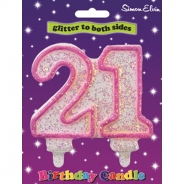 Pink Number 18 Glittered Birthday Candle