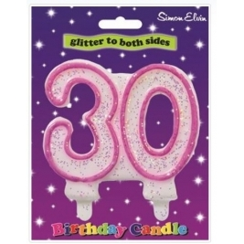 Pink Number 21 Glittered Birthday Candle