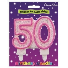 Pink Number 40 Glittered Birthday Candle