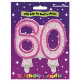 Pink Number 50 Glittered Birthday Candle
