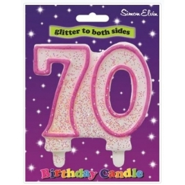 Pink Number 70 Glittered Birthday Candle
