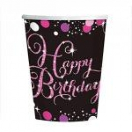 Pink Sparkling Sparkling Celebration  Happy Birthday Cups 266ml