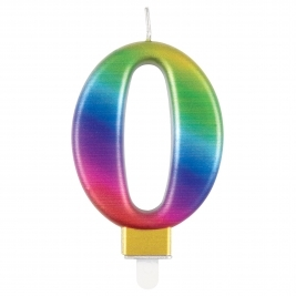 Rainbow Metallic Number 0 Candle