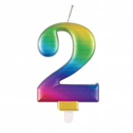 Rainbow Metallic Number 2 Candle