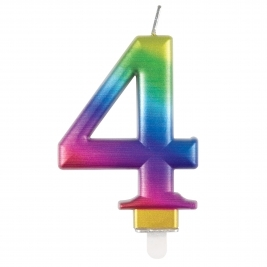 Rainbow Metallic Number 4 Candle