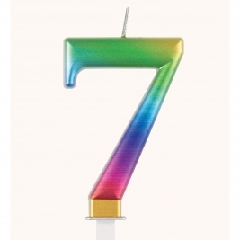 Rainbow Metallic Number 7 Candle