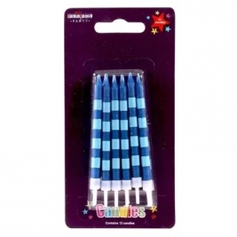 Straight Stripes Candles Blue (x12)