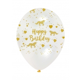 Unicorn Sparkle Latex Balloons Crystal Clear All Round Print - Pack of 6