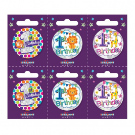 Age 1 Small Badges (6 assorted per perforated card) (5.5cm)