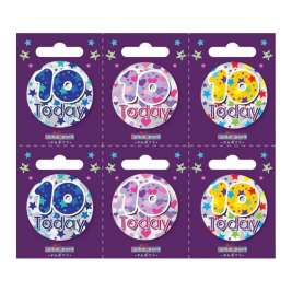 Age 10 Small Badges (6 assorted per perforated card) (5.5cm)