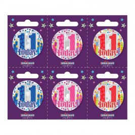 Age 11 Small Badges (6 assorted per perforated card) (5.5cm)