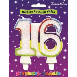 Age 16 Multi Colour Birthday Cake Candle Cake