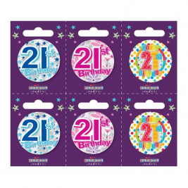 Age 21 Small Badges Pack of 6