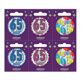 Age 65 Small Badges Pack of 6