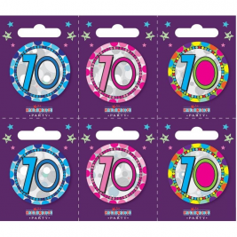 Age 70 Small Badges Pack of 6
