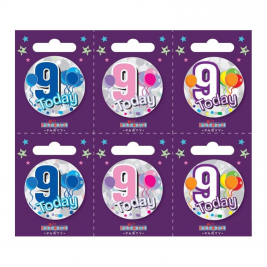Age 9 Small Badges (6 assorted per perforated card) (5.5cm)
