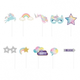 Unicorn Party Photo Booth Props, Set of 10