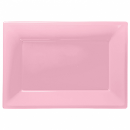 Baby Pink Plastic Serving Platters Pack of 3
