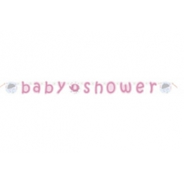 Umbrellaphants Pink Baby Shower JOINTED BANNER