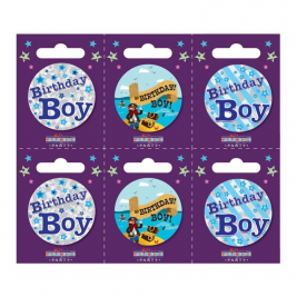 Birthday Boy Small Badges (6 assorted per perforated card) (5.5cm)