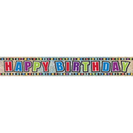HAPPY BIRTHDAY COLOURS PRISMATIC BANNER 12 FT
