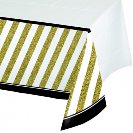Black and Gold Plastic Tablecover Border Print