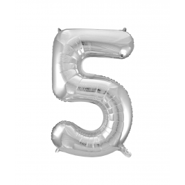 Number 5 Giant Silver Foil Balloon 34 Inches