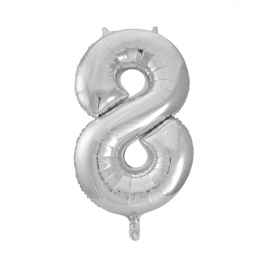 Number 8 Giant Silver Foil Balloon 34 Inches
