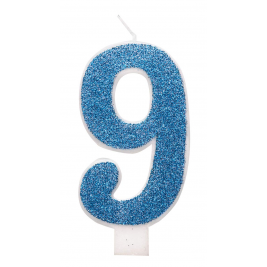 Blue Glitz Glitter Number 9 Birthday Candle