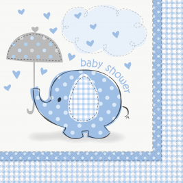 Umbrellaphants Blue Baby Shower LUNCHEON NAPKINS - Pack of 16