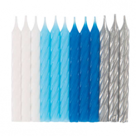 Blue, White & Silver Spiral Candles Pack of 24