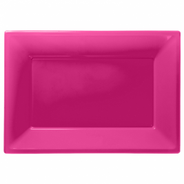 Bright Pink Plastic Serving Platters - 3 PK