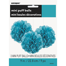 Caribbean Teal Tissue Puff Decorations 9