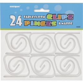 Clear Plastic Tablecover Clips (24pk)