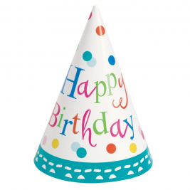 Confetti Cake Happy BirthDay PARTY HATS - pack of 8