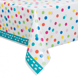 Confetti Cake Happy BirthDay PLASTIC TABLECOVER 54