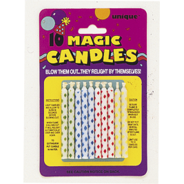 DIAMOND DOT MAGIC BIRTHDAY CANDLES ASSORTED COLOURS - pack of 10