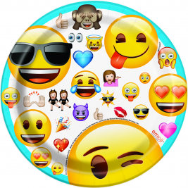 Emoji Party Round Plates 7'inch - Pack of 8