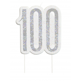 Black Glitz Number 100 Birthday Candle