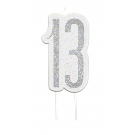 Black Glitz Number 13 Birthday Candle