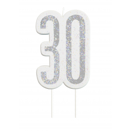 Black Glitz Number 30 Birthday Candle
