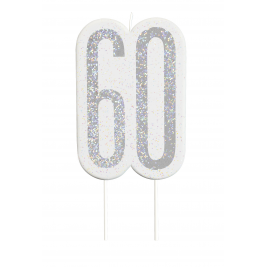 Black Glitz Number 60 Birthday Candle